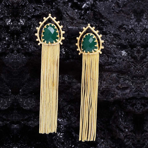 Green Gold Shower Dangler Earrings - Ferosh