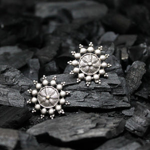 Ferosh Earrings Iniya Oxidized Silver Stud Earrings