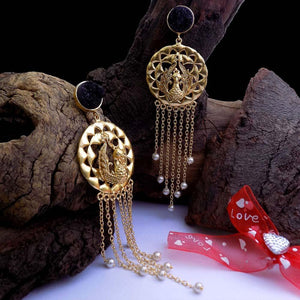 Kaisha Gold Chained Statement Ethnic Earrings - Ferosh