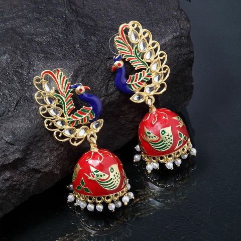 Ferosh Earrings Kalapi Peacock Designer Jhumka Earrings