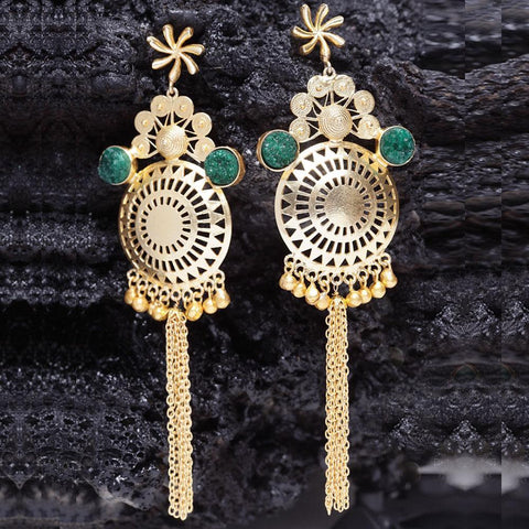 Ferosh Earrings Kavya Gold Plated Green Dangler Earrings