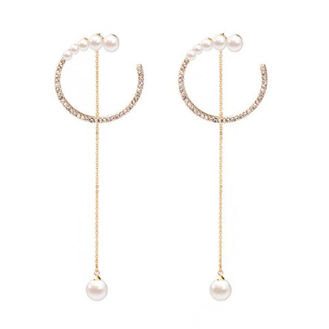 Ferosh Earrings Liora Designer Circular Gold Pearl Drop Earrings for Women