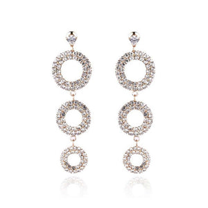 Maeby Crystal Circular Layered Earrings - Ferosh
