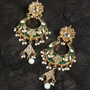 Meenakari Emerald Pearl Drop Earrings - Ferosh