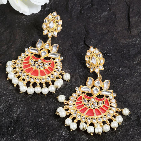 Mehar Red Pearl Ethnic Earrings - Ferosh
