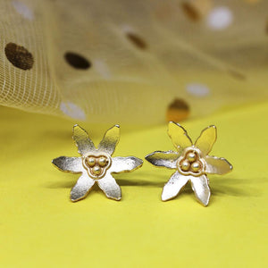Miraan Floral Golden Stud Earrings - Ferosh