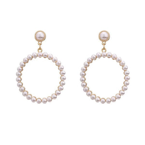 Mishka Circlular Pearl Dangler Earrings - Ferosh