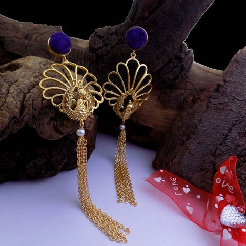 Mor Gold Contemporary Ethnic Earrings - Ferosh