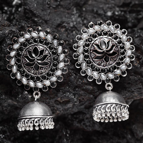 Neerja Black Pearl Jhumka Earrings - Ferosh