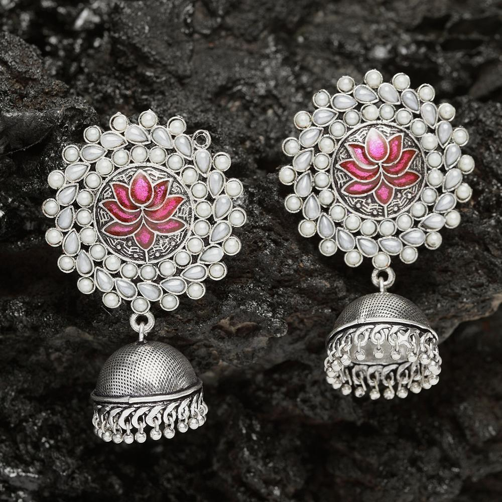 Ferosh Earrings Neerja Pink Pearl Jhumka Earrings