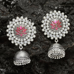 Neerja Pink Pearl Jhumka Earrings - Ferosh