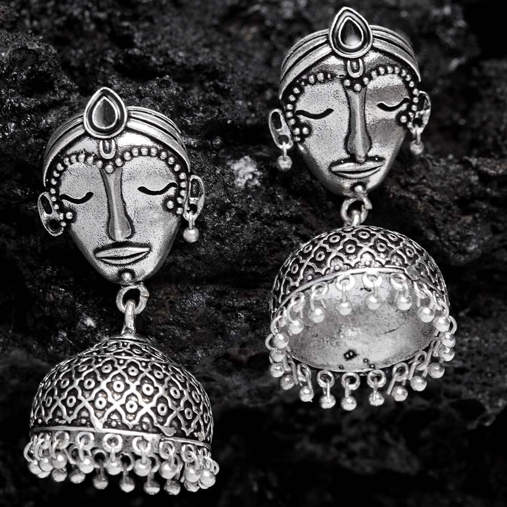 fb30c376c Ferosh Earrings Nitya Face Oxidized Silver Ethnic Earrings. prev