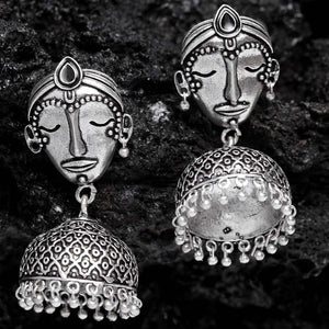 Nitya Face Oxidized Silver Ethnic Earrings - Ferosh