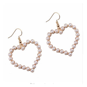 Ophelia Pearl Heart Drop Earrings - Ferosh