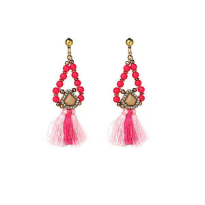 Pink Beaded Danglers - Ferosh