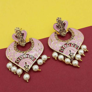 Pink Meenakari Kundan Earrings - Ferosh