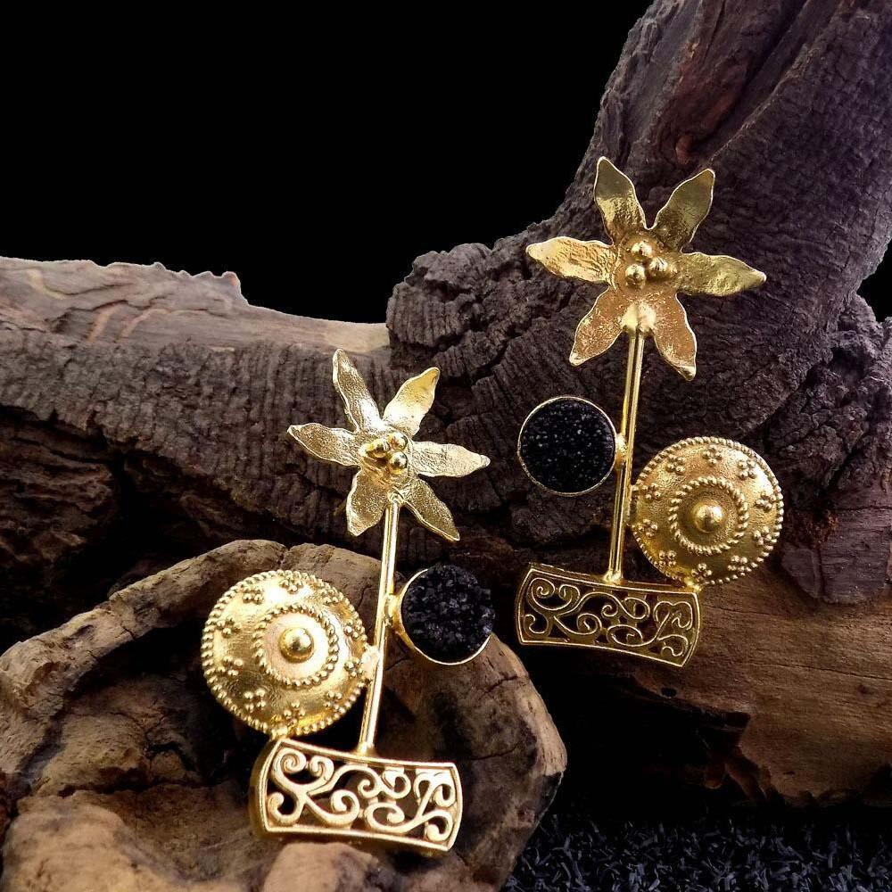 Ferosh Earrings Raisa Golden Floral Statement Ethnic Earrings