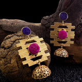 Rewa Golden Dangler Earrings - Ferosh