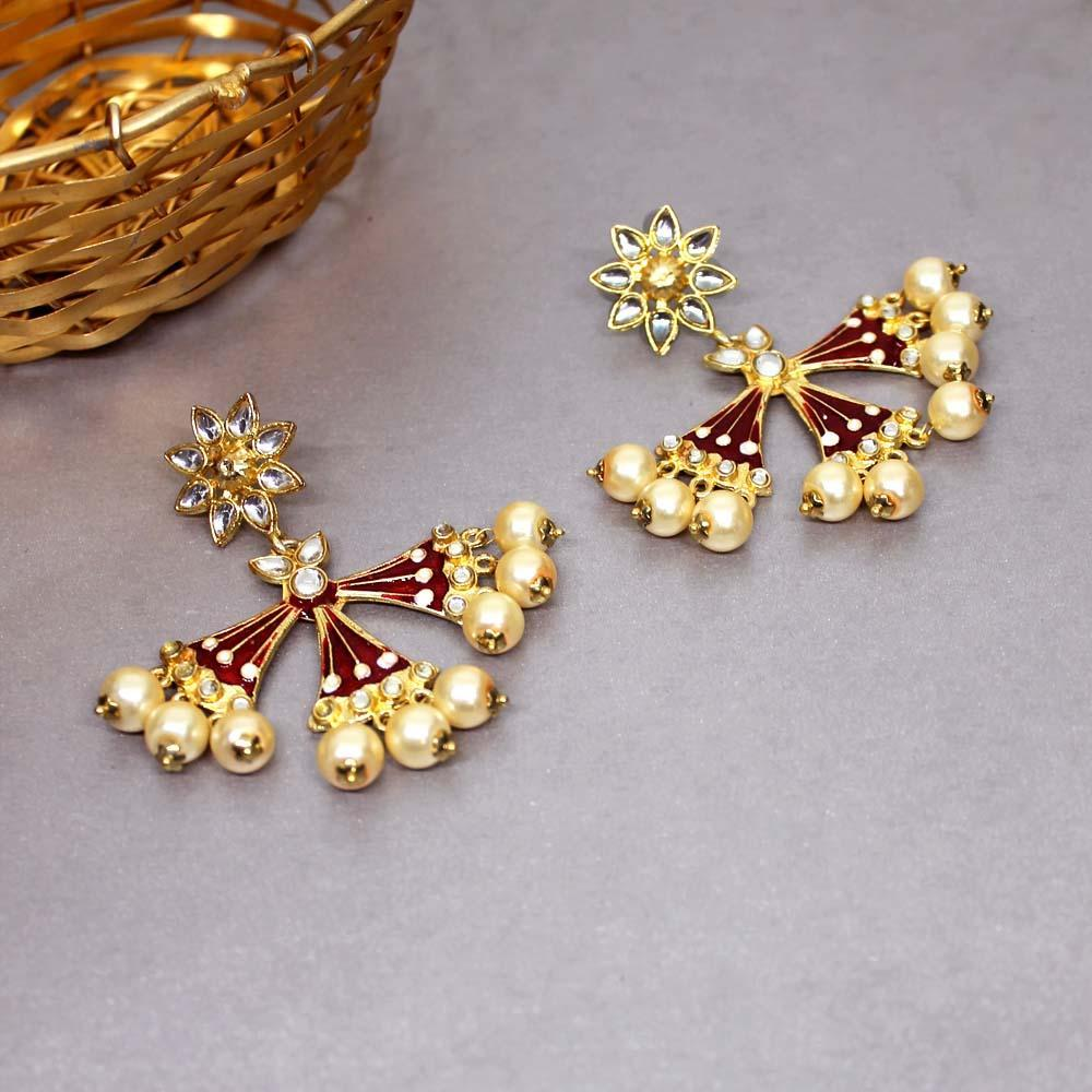 Ferosh Earrings Shiza Maroon Pearl Ethnic Earrings