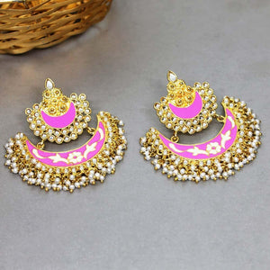 Soha Pink Gold Pearl Charm Earrings - Ferosh