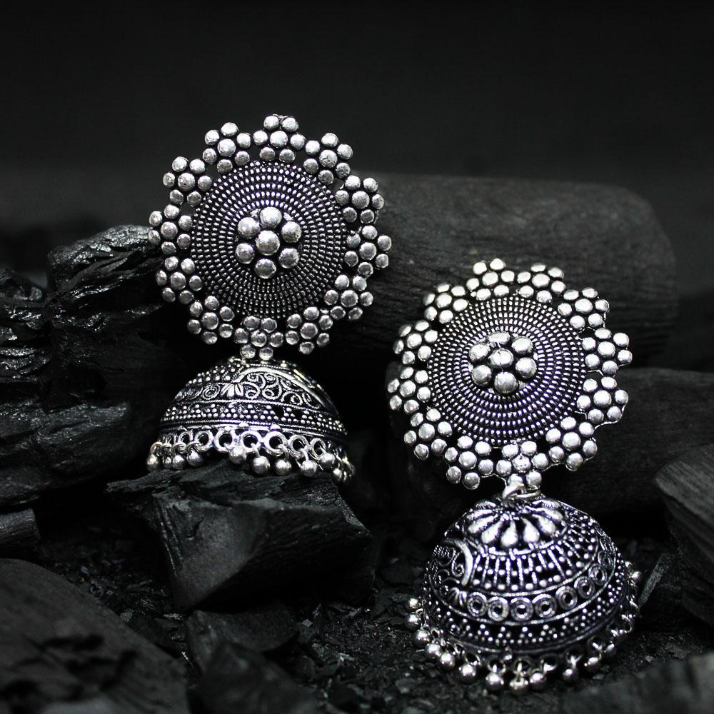 Ferosh Earrings Srivika Oxidized Silver Jhumkaa