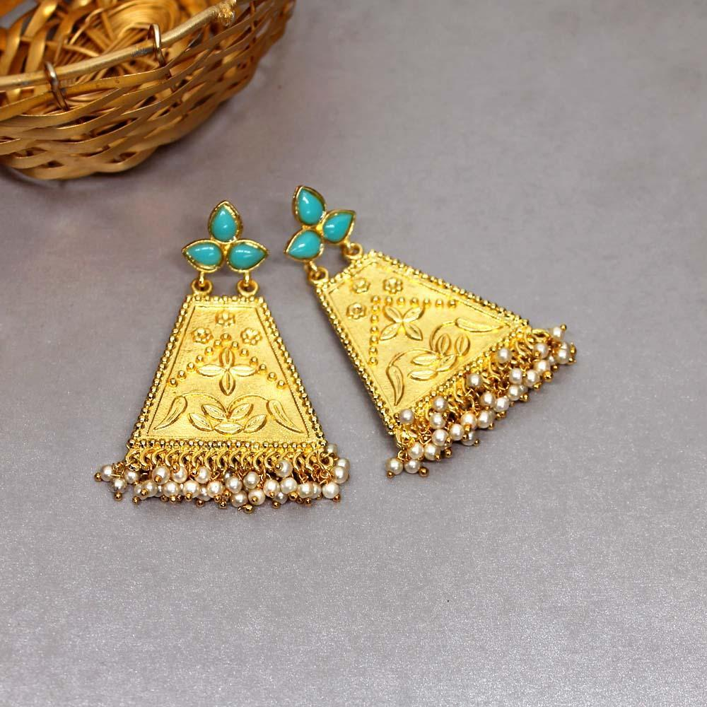 Ferosh Earrings Triti Turquoise Gold Ethnic Earrings