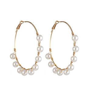 Ventura Pearl Studded Golden Hoop Earrings - Ferosh