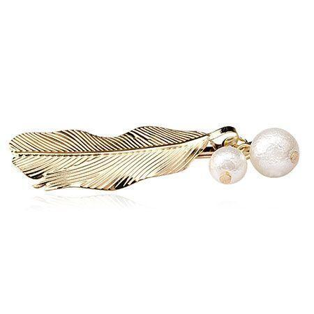 Ferosh Hair Accessories Leaf Pearl Golden Hairpin