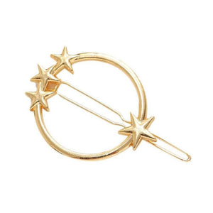 Star-Studded Gold Circle Hair Pin - Ferosh