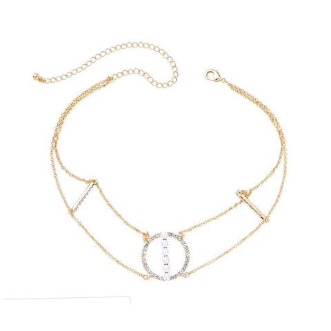 Ferosh Necklace Ivana Layered crystals Gold Choker for Women
