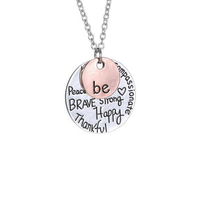 Ferosh Pendant Necklace Be happy pendant