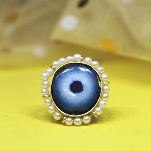 Ferosh Ring Navisha Pearl Evil Eye Statement Ring
