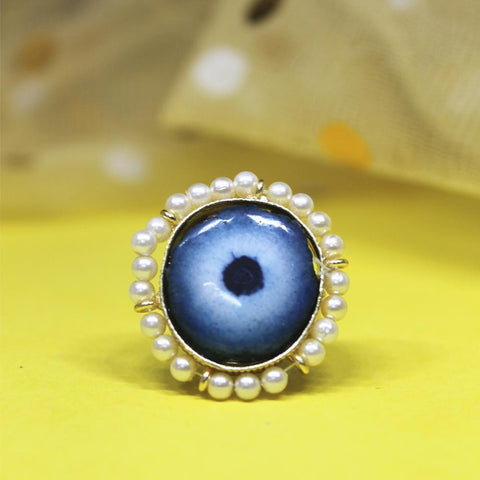 Navisha Pearl Evil Eye Statement Ring - Ferosh