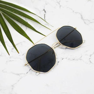 Diego Golden Black Rounded Pentagon Shades - Ferosh