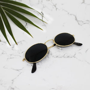 Quinn Oval Black Aviators - Ferosh