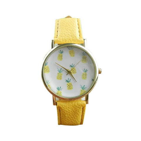 Quirky Pineapple Yellow Strap Watch - Ferosh