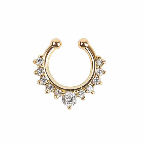 Studded Septum Yellow Golden Nose Ring - Ferosh