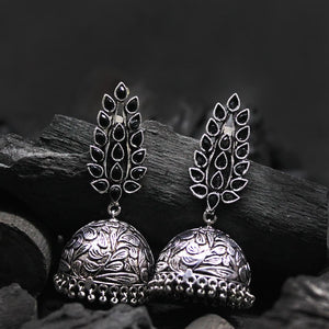 Ferosh Black Silver Oxidized Ethnic Jhumka For Women - Earrings Online