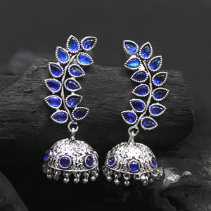 Kayra Royally Blue Silver Oxidized Jhumki Earrings - Ferosh