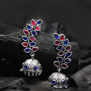 Kayra Pink-Blue Silver Oxidized Jhumki Earrings - Ferosh