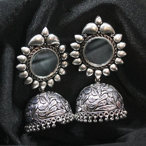 Saira Silver Oxidized Mirror Jhumki Earrings - Ferosh