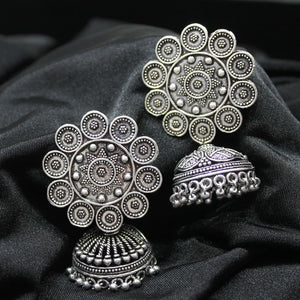 Mira Silver Oxidized Engraved Floral Jhumkis - Ferosh
