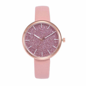 Pink Glittery Leather Strap Watch - Ferosh