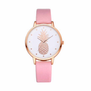 Cliste Pineapple Blush Pink Leather Strap Watch - Ferosh