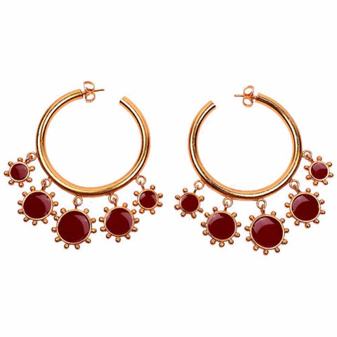 Ferosh Paisley Golden Red Stone Open Hoop Earrings