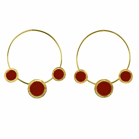 Ferosh Wondrous Golden Red Charm Hoop Earrings