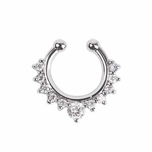 Studded Septum Silver Nose Ring - Ferosh