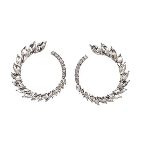 Ferosh Winged Silver Open Circle Crystal Stud Earrings