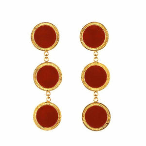 Ferosh Lola Red Golden Tri-Layered Drop Earrings