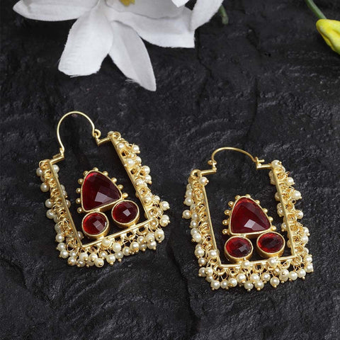 Hridika Rectangular Faux Pearl Golden Earrings - Ferosh